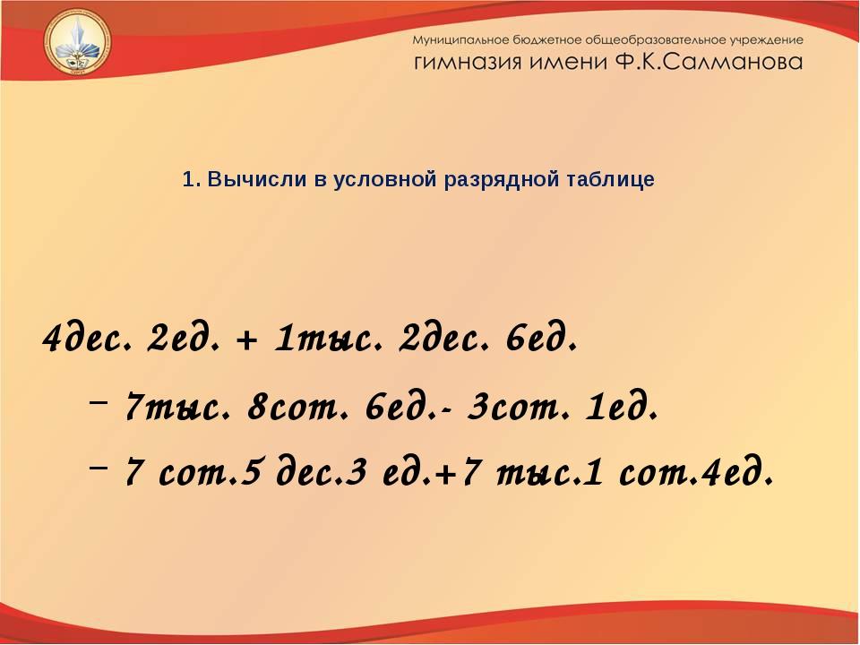 1. Вычисли в условной разрядной таблице 4дес. 2ед. + 1тыс. 2дес. 6ед. 7тыс. 8...