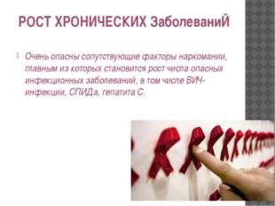 РОСТ ХРОНИЧЕСКИХ ЗаболеваниЙ Очень опасны сопутствующие факторы наркомании, г