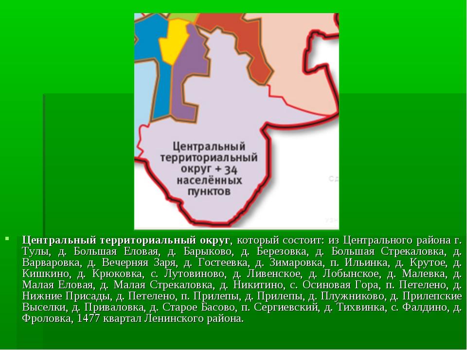 Центральный территориальный округ, который состоит: из Центрального района г....