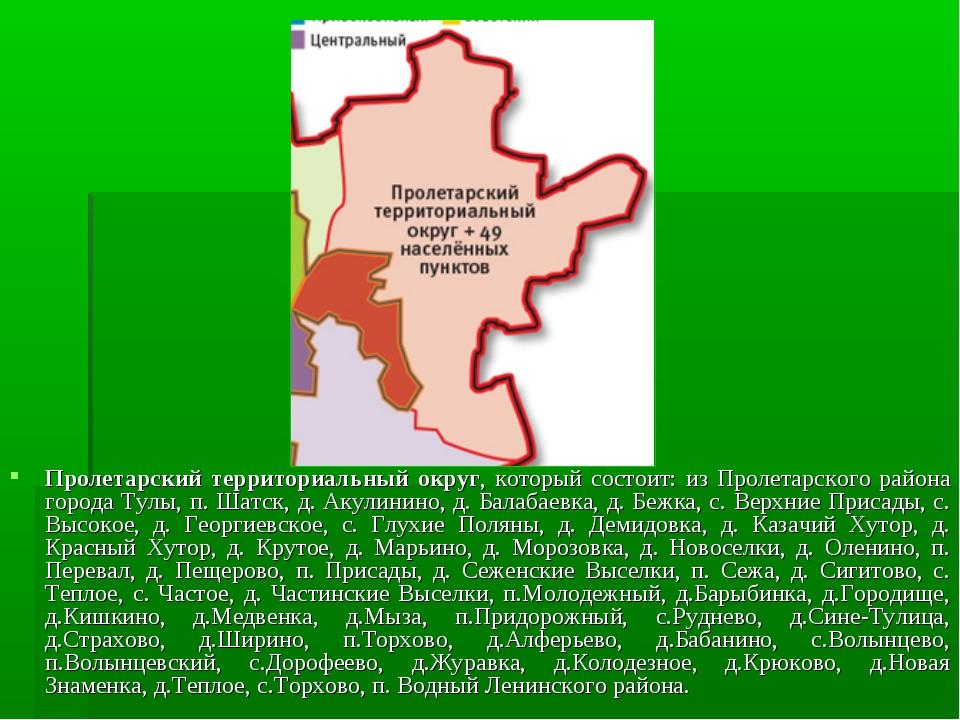 Пролетарский территориальный округ, который состоит: из Пролетарского района...