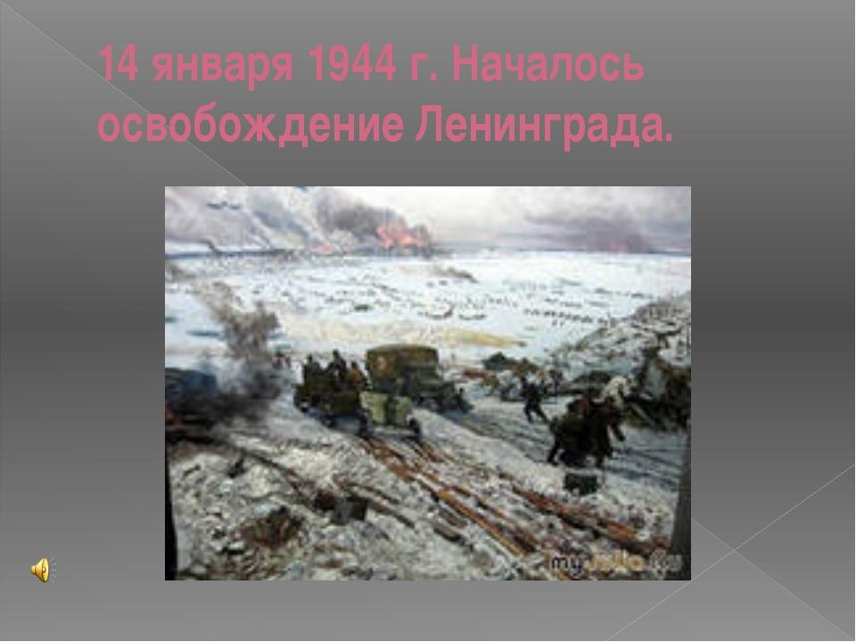 14 января 1944 г. Началось освобождение Ленинграда.