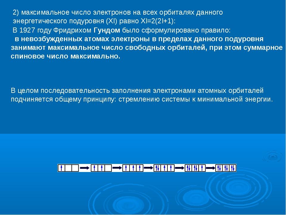 2) максимальное число электронов на всех орбиталях данного энергетического по...