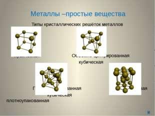 Металлы –простые вещества Типы кристаллических решёток металлов Кубическая Об