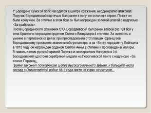 У Бородино Сумской полк находился в центре сражения, неоднократно атаковал. П