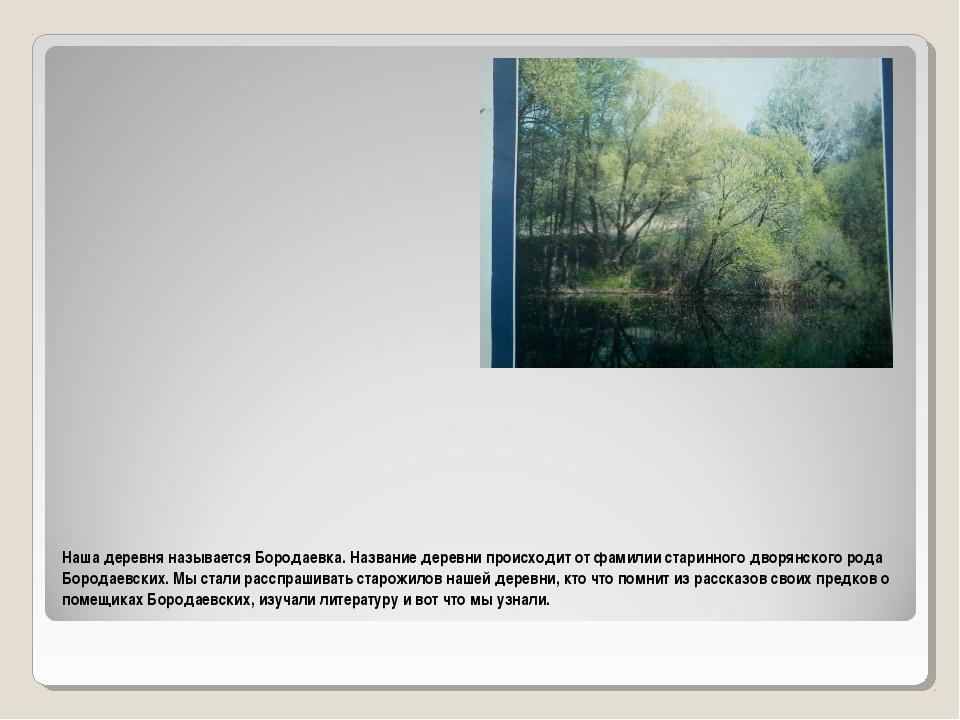Наша деревня называется Бородаевка. Название деревни происходит от фамилии ст...