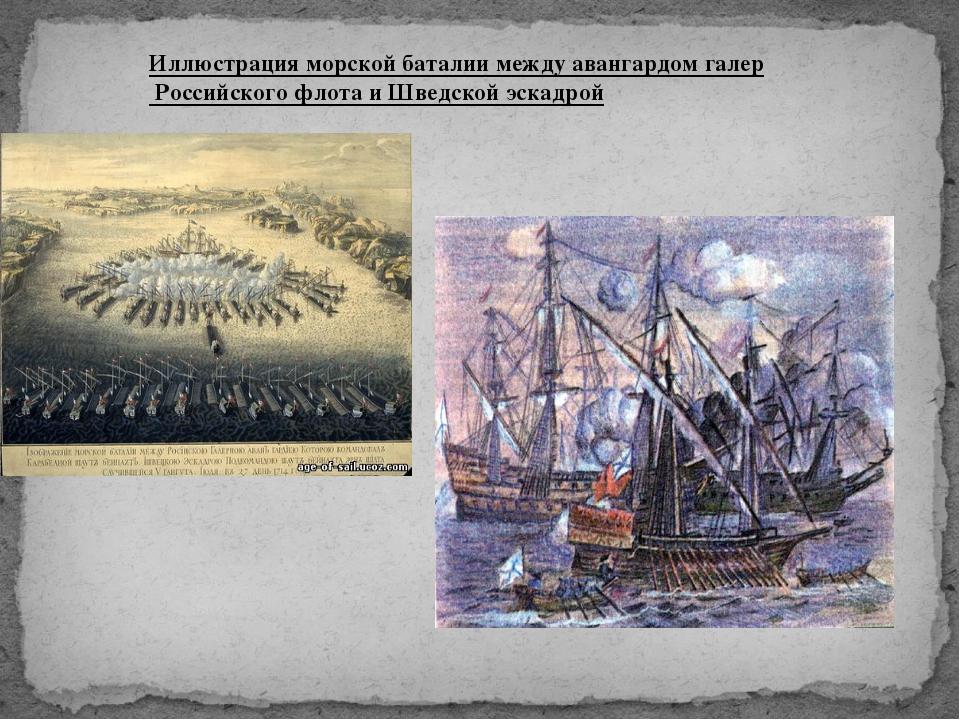 Иллюстрация морской баталии между авангардом галер Российского флота и Шведск...