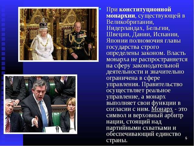 * При конституционной монархии, существующей в Великобритании, Нидерландах, Б...