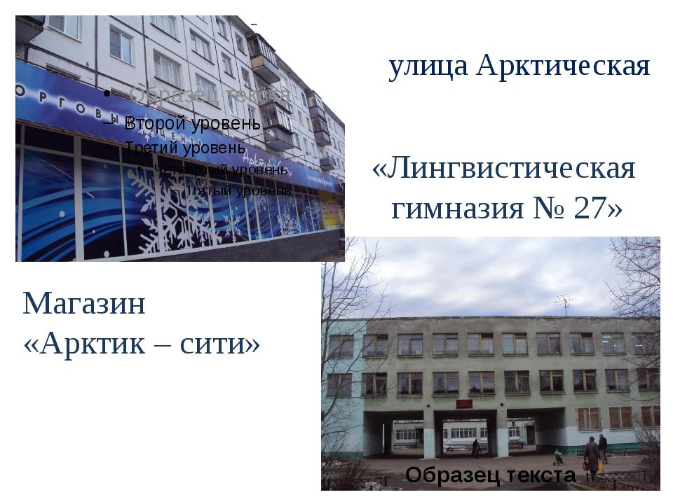 улица Арктическая «Лингвистическая гимназия № 27» Магазин «Арктик – сити»