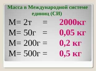 M= 2т = M= 50г = M= 200г = M= 500г = 2000кг 0,05 кг 0,2 кг 0,5 кг Масса в Меж