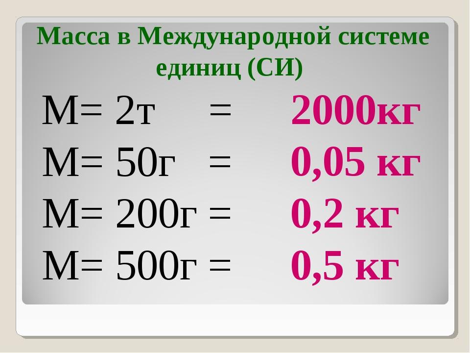 M= 2т = M= 50г = M= 200г = M= 500г = 2000кг 0,05 кг 0,2 кг 0,5 кг Масса в Меж...