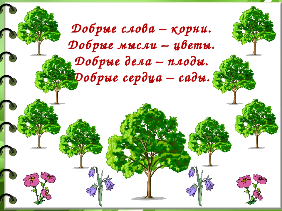 Добрые слова – корни. Добрые мысли – цветы. Добрые дела – плоды. Добрые сердц...