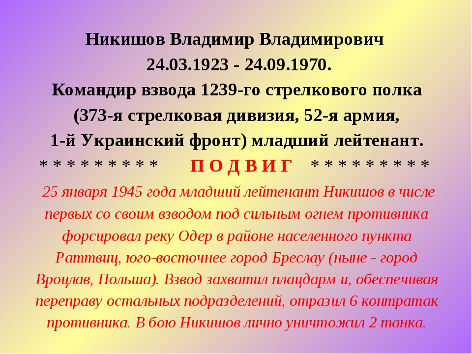 Никишов Владимир Владимирович 24.03.1923 - 24.09.1970. Командир взвода 1239-г...
