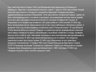 При советской власти 9 марта 1920 года Мещановка была выделена из Елшанского
