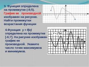 3. Функция определена на промежутке (-8;5). График ее производной изображен