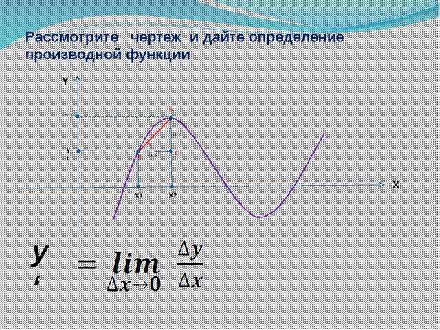 Δ x Δ y X1 X2 Y1 Y2 A C B X Y y ' Рассмотрите чертеж и дайте определение про...