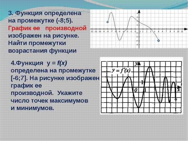 3. Функция определена на промежутке (-8;5). График ее производной изображен...