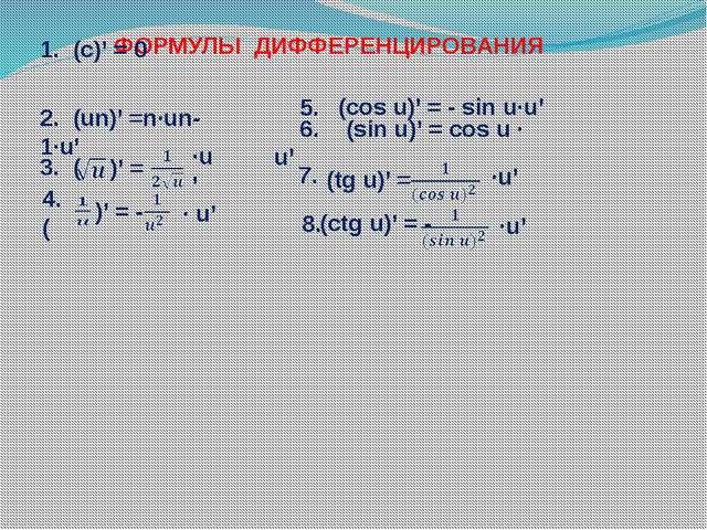 ФОРМУЛЫ ДИФФЕРЕНЦИРОВАНИЯ 1. (с)' = 0 2. (un)' =n∙un-1∙u' 3. ( )' = ∙u' 4. (...