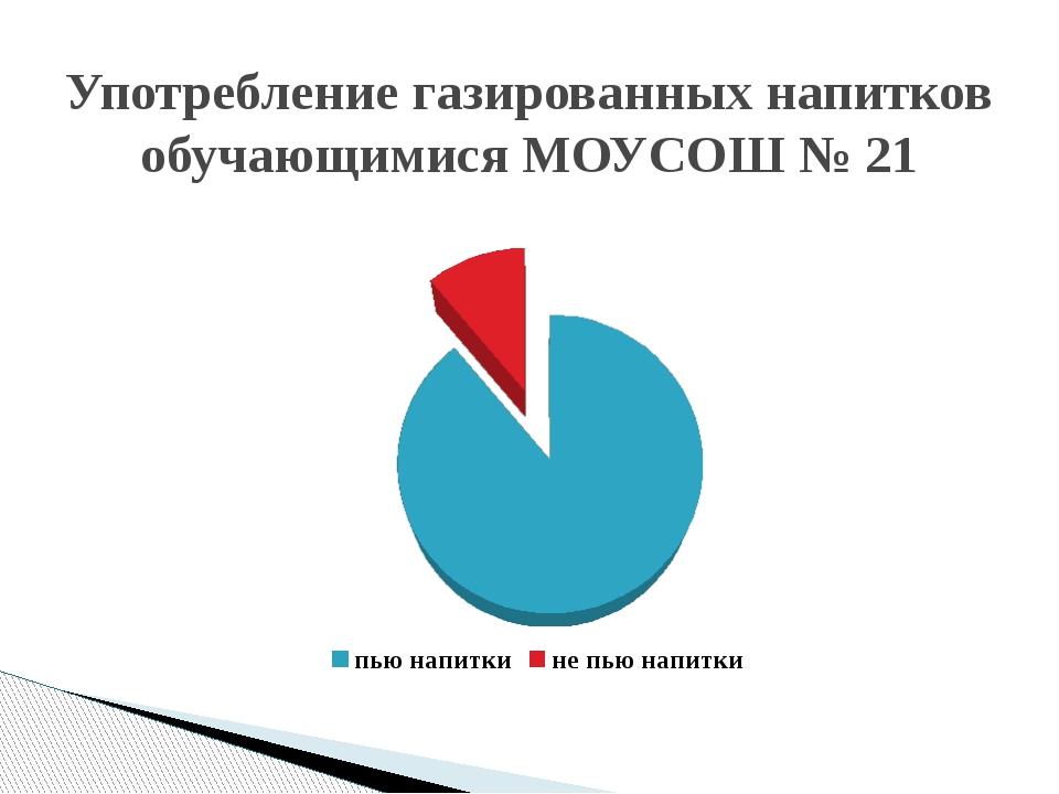 Употребление газированных напитков обучающимися МОУСОШ № 21