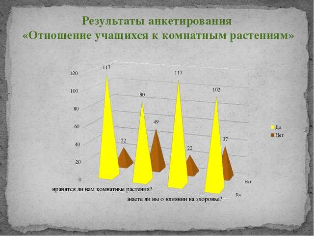 Результаты анкетирования «Отношение учащихся к комнатным растениям»