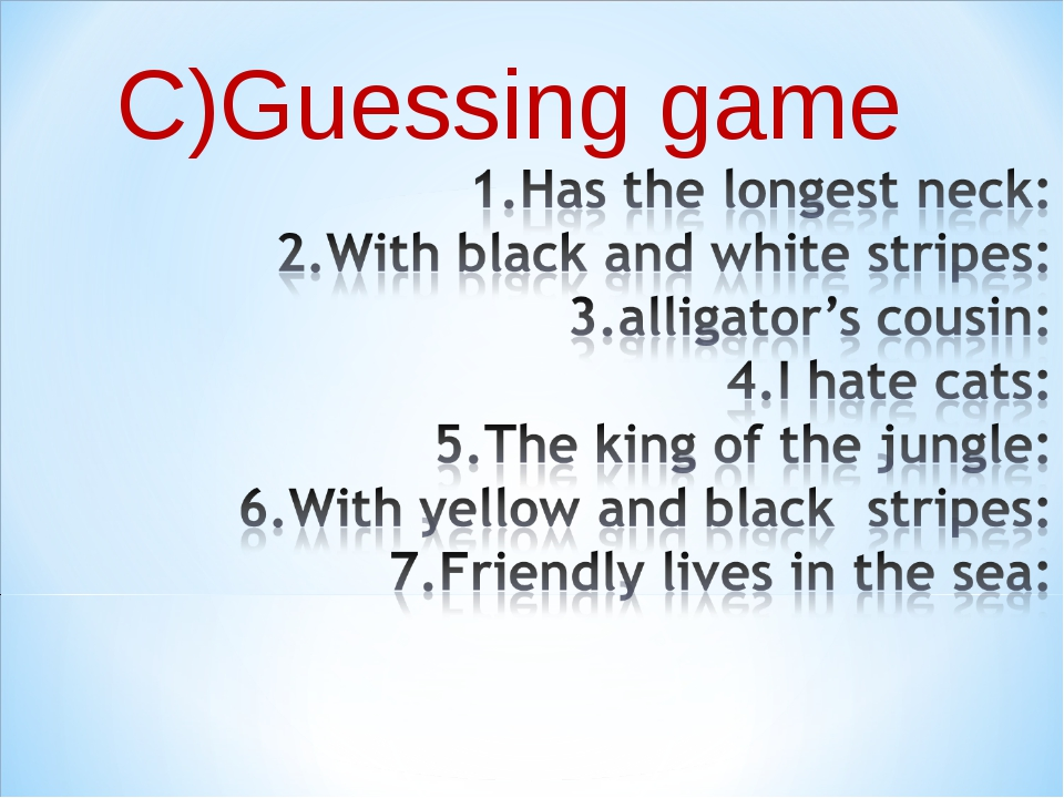 C)Guessing game