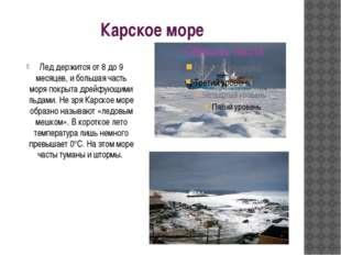 Карское море Лед держится от 8 до 9 месяцев, и большая часть моря покрыта дре