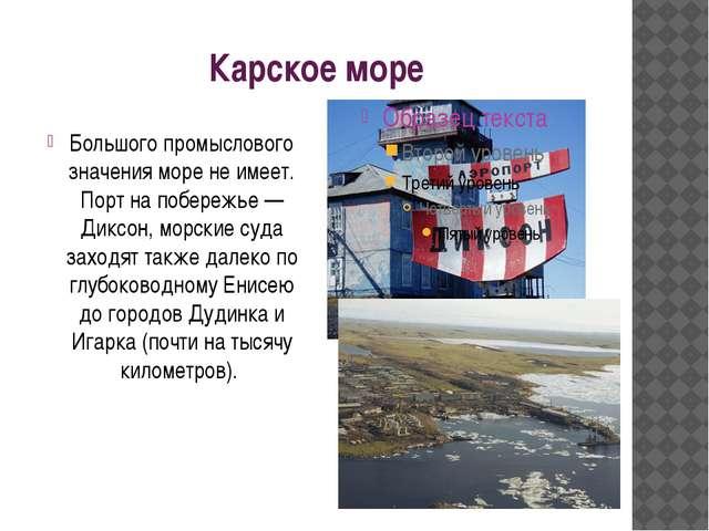 Карское море Большого промыслового значения море не имеет. Порт на побережье...