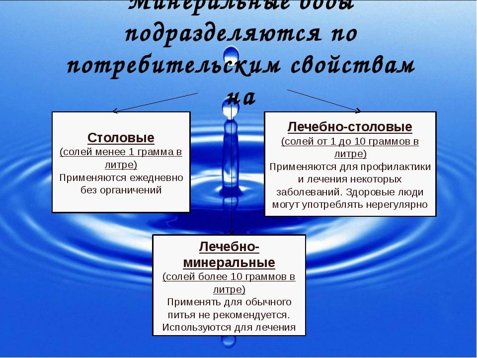 Минеральные воды подразделяются по потребительским свойствам на Столовые (сол...