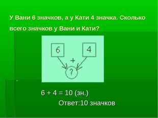 У Вани 6 значков, а у Кати 4 значка. Сколько всего значков у Вани и Кати? . 6