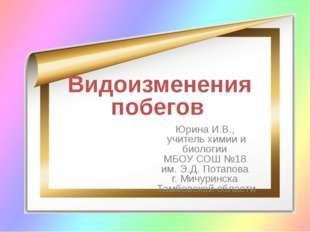 Видоизменения побегов Юрина И.В., учитель химии и биологии МБОУ СОШ №18 им. Э