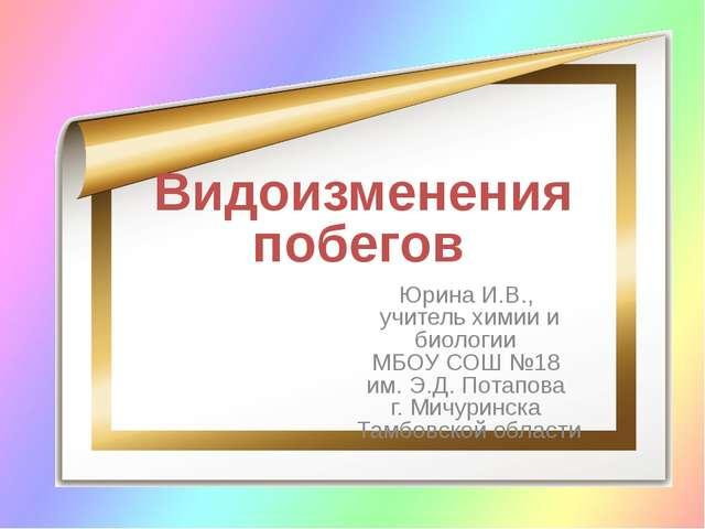 Видоизменения побегов Юрина И.В., учитель химии и биологии МБОУ СОШ №18 им. Э...