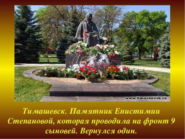 Тимашевск. Памятник Епистимии Степановой, которая проводила на фронт 9 сынове...