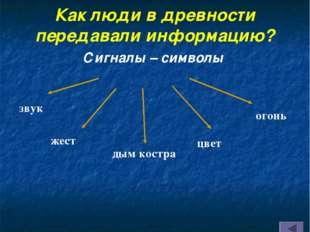 Как люди в древности передавали информацию? Сигналы – символы звук жест дым к