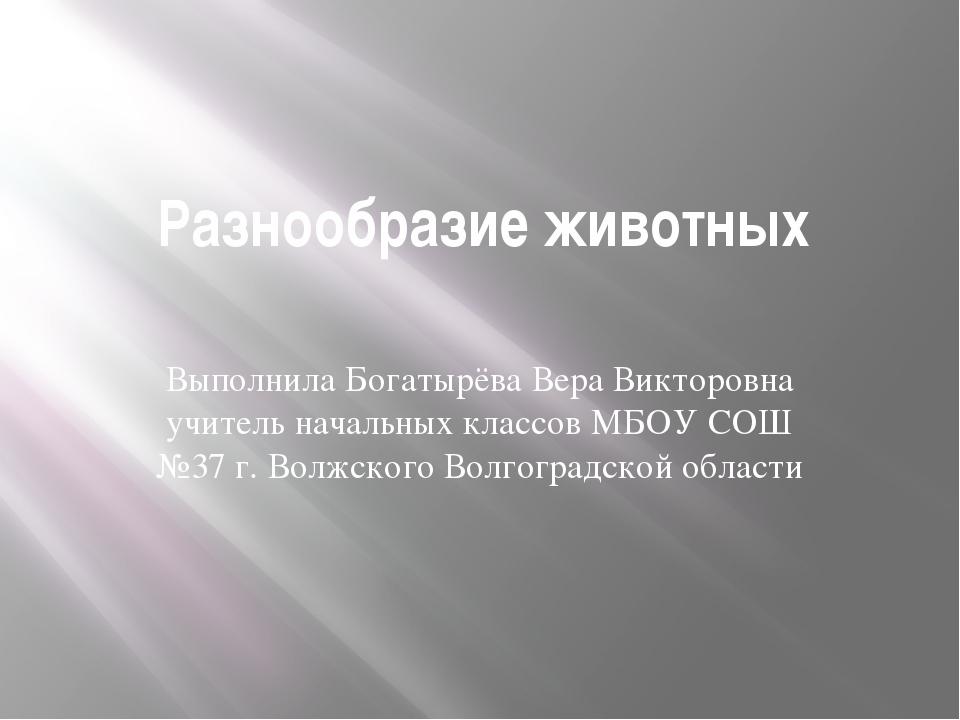 Разнообразие животных Выполнила Богатырёва Вера Викторовна учитель начальных...