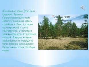 Сосновый островок (близ села Широкое). Является ботаническим памятником облас