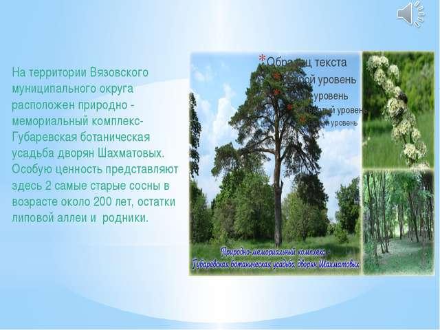 На территории Вязовского муниципального округа расположен природно - мемориал...