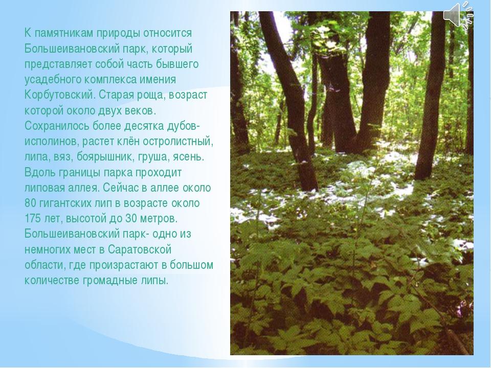 К памятникам природы относится Большеивановский парк, который представляет со...