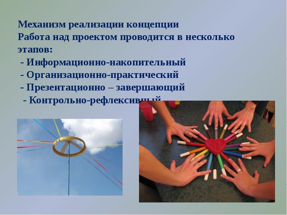 Механизм реализации концепции Работа над проектом проводится в несколько этап...
