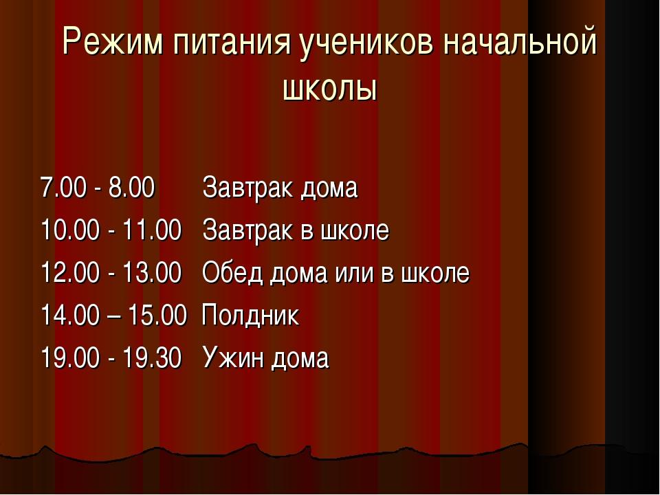 Режим питания учеников начальной школы 7.00 - 8.00 Завтрак дома 10.00 - 11.0...