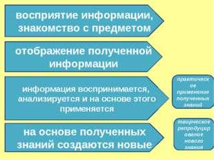 восприятие информации, знакомство с предметом отображение полученной информац