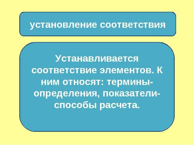 установление соответствия Устанавливается соответствие элементов. К ним относ...