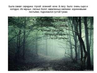 Была самая середина глухой осенней ночи. В лесу было очень сыро и холодно. Из