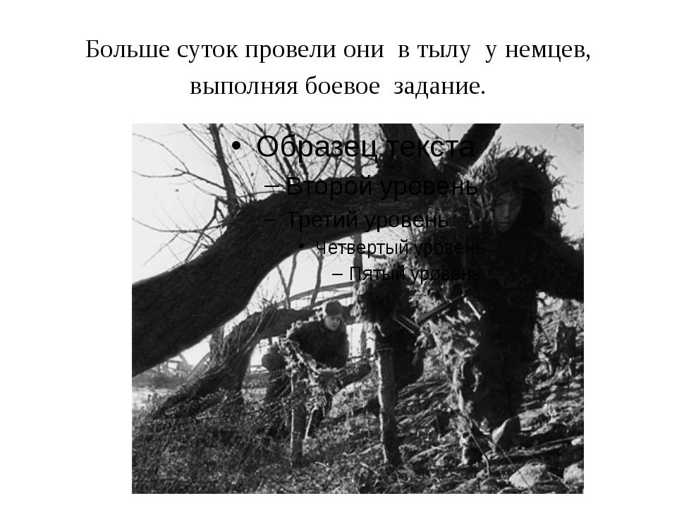Больше суток провели они в тылу у немцев, выполняя боевое задание.