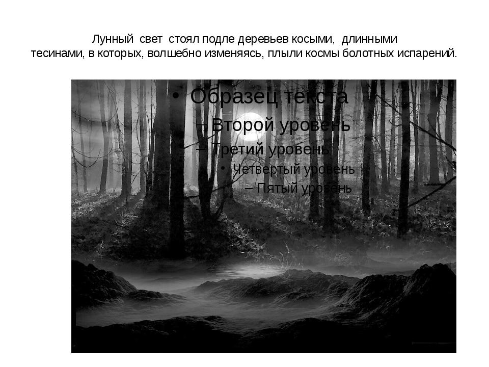 Лунный свет стоял подле деревьев косыми, длинными тесинами, в которых, волшеб...
