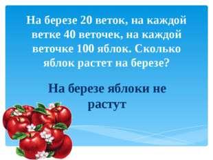 На березе 20 веток, на каждой ветке 40 веточек, на каждой веточке 100 яблок.