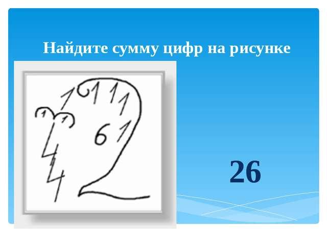Найдите сумму цифр на рисунке 26