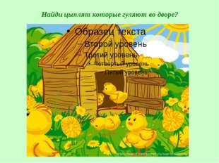 Найди цыплят которые гуляют во дворе?