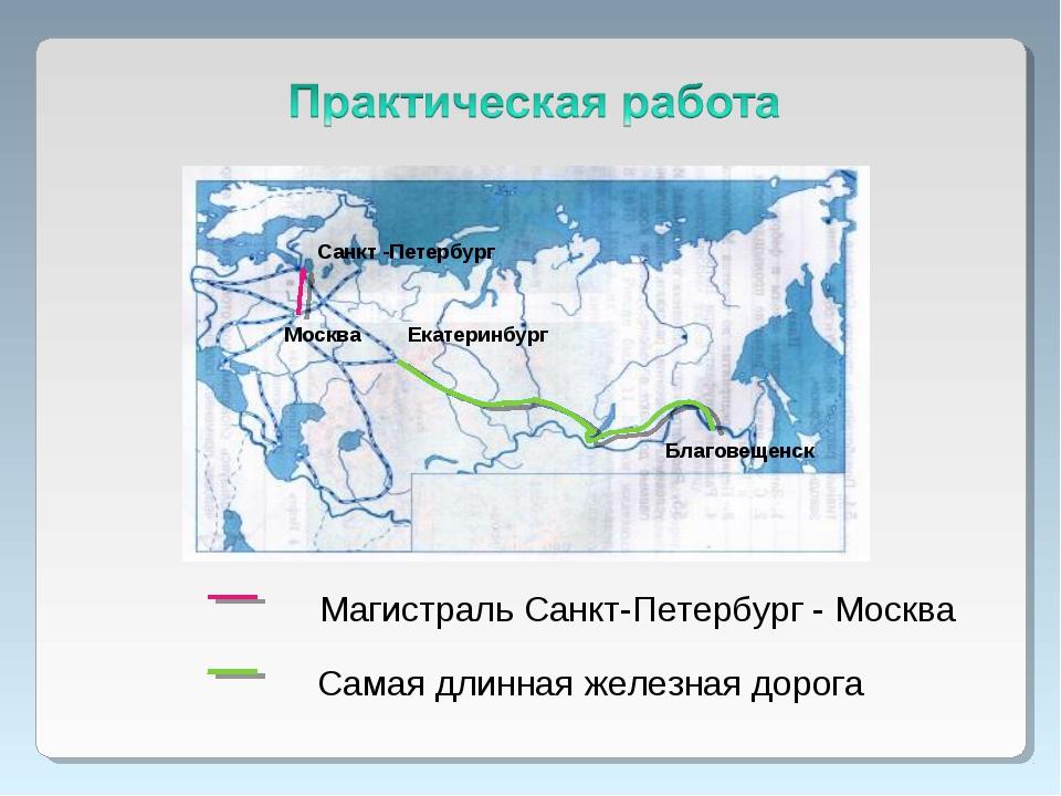 Санкт -Петербург Москва Магистраль Санкт-Петербург - Москва Самая длинная жел...