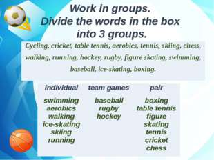 Work in groups. Divide the words in the box into 3 groups. Cycling, cricket,