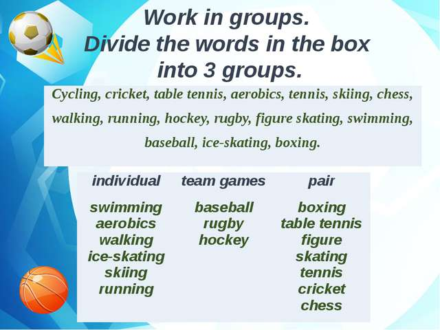 Work in groups. Divide the words in the box into 3 groups. Cycling, cricket,...