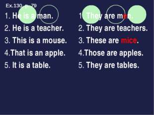 1. He is a man. 2. He is a teacher. 3. This is a mouse. 4.That is an apple. 5